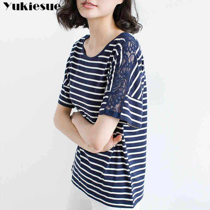 Kurzarm T-shirt Weibliche Frauen-Spitze aushöhlen gestreiftes T-shirt Baumwollsommer-T-Shirt Dame Tops Basic Plus Größe 210412