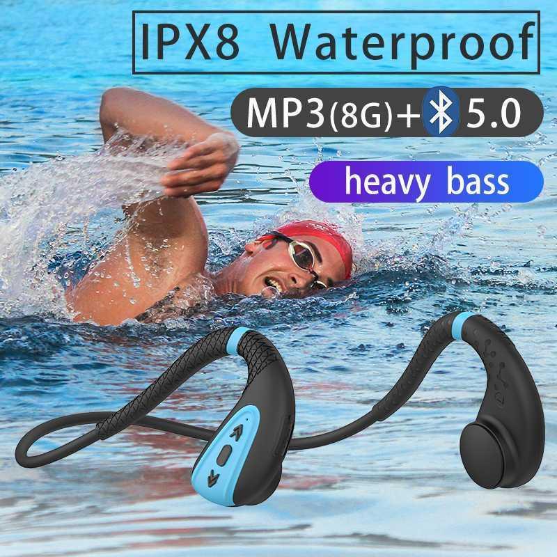 DDJ Q1 골전달 전도 헤드폰 내장 메모리 8G IPX8 방수 MP3 음악 플레이어 수영 다이빙 이어폰 15 일 대기