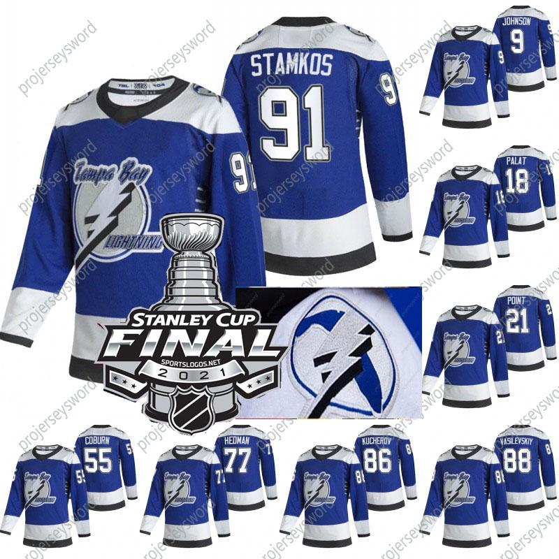 2021 Stanley Cup Final Steven Stamkos Jersey Tampa Bay Lightning 2020 Champions Johnson Point Palat Kucherov Hedman McDonagh Vasilevskiy Reverse Retro Jerseys