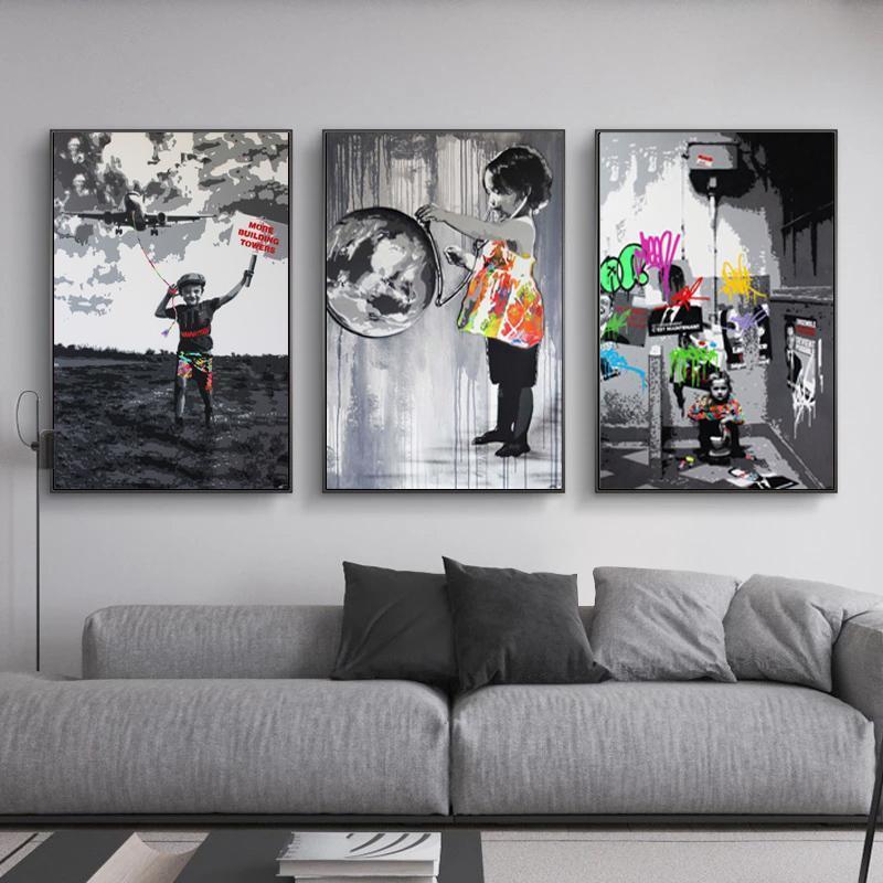 Pinturas Street Banksy Graffiti Art Canvas Pintura en la pared Pósteres Impresiones Fotografías para sala de estar Home CUADROS