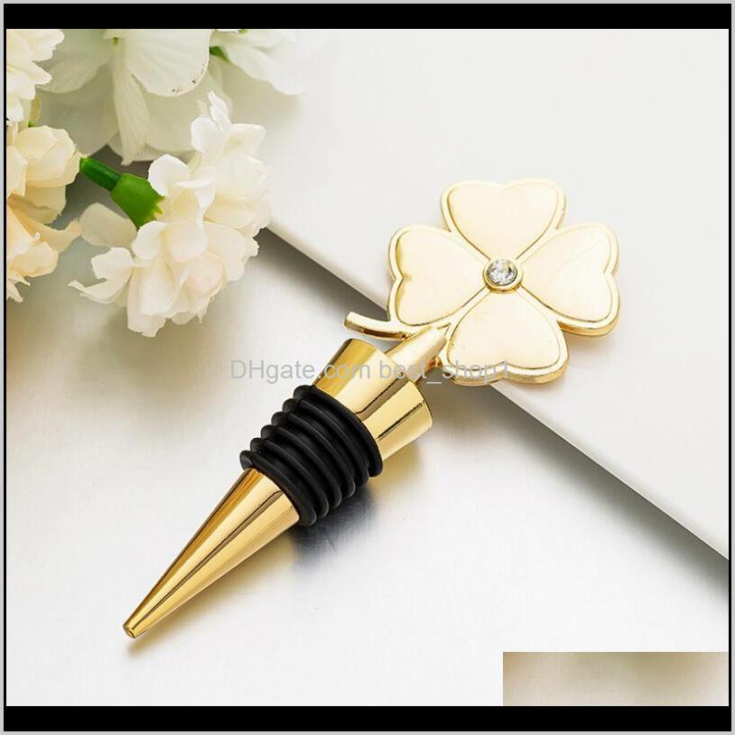 Party Lucky Bottle Four Leaf Clover Red Wine Stopper Wedding Favor Birthday Gift Event Giveaways Owd1066 Tiyhd Resdq