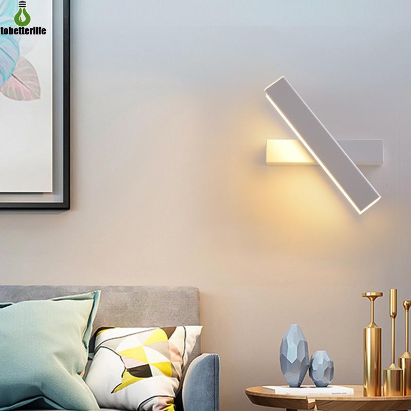 Luzes de parede do diodo emissor de luz modernas 7W 12W que giram a lâmpada de giro Sconce Bedroom preto Nordic Ângulo ajustável 110-220V