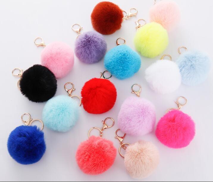 37 Цветов 8см Имитация кролика меховой мяч брелок POM POM автомобиль брелок сумка брелок пушистый из искусственного кролика ключевое кольцо