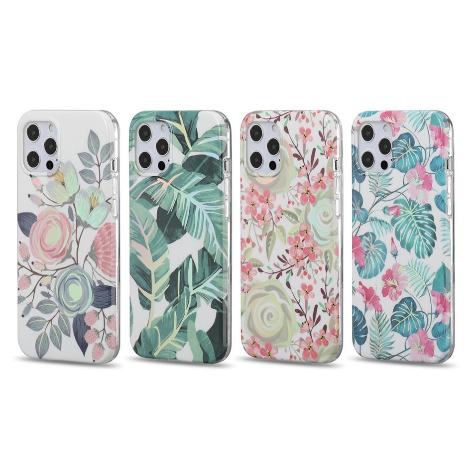 Clear Floral Soft TPU à prova de choque mulheres meninas meninas casos de telefone celular para iphone 12 11 pro max xr xs 8 7 samsung s21 s20 note20 nota10 plus ultra imd flor padrão