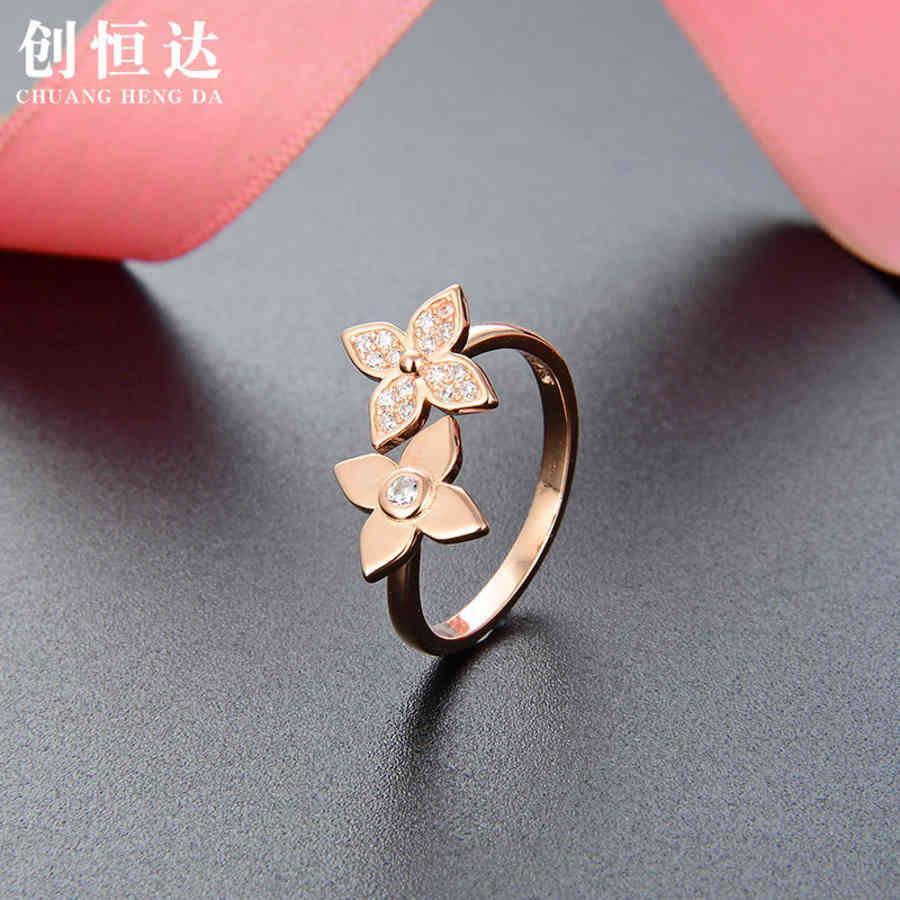 Estilo coreano Dulce y elegante Flor Zircon Anillo abierto S925 Silver Diamond Rose Gold Lady 4C2T