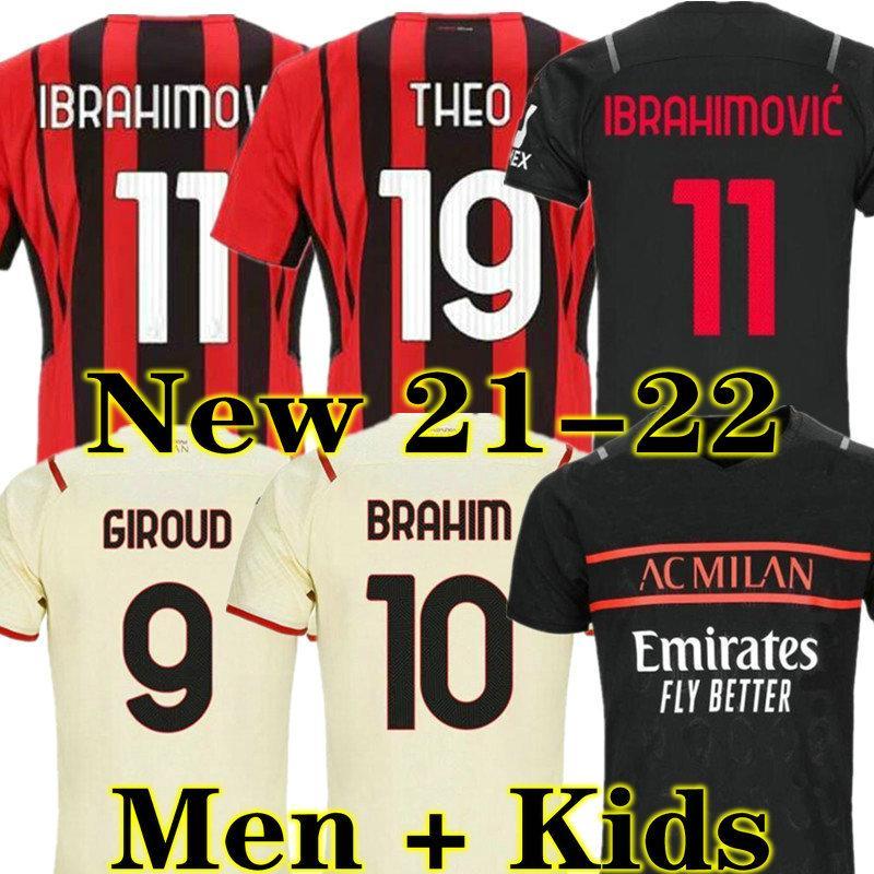AC Milan 20 21 Ibrahimovic Home Fussball Jersey Torwart GK 2020 2021 Away DRITTE FUSSBALL HEMD REPARD MÄNNLICHE MÄNNER MEN + KINDER KIT