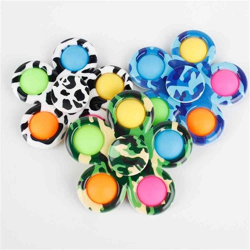 Duyusal Fidget Spinners Baskılı Çiçek Kabarcık Poppers Kurulu DNA Gökkuşağı Topları Push Spinners Parmak Eğlenceli Çocuklar Yetişkin Stres Rölyef Masaüstü Poo Kabarcıklar G4U12ME