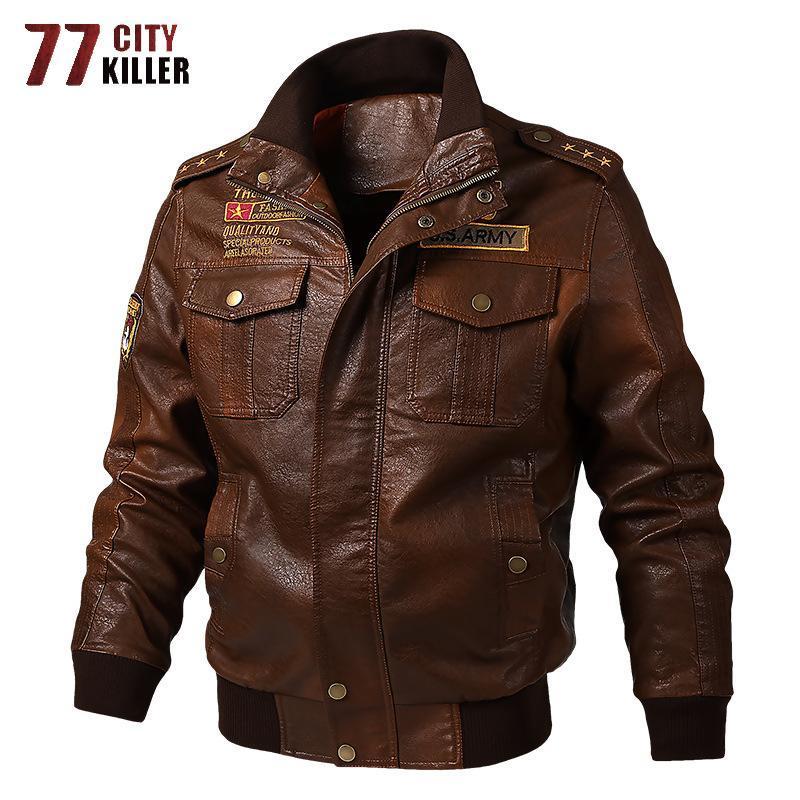 Giacche da uomo 77City Killer Plus Size Plus Size Giacca di pelle militare Uomo Primavera Bomber Moto Outwear PU Jaqueta de Couro M-6XL
