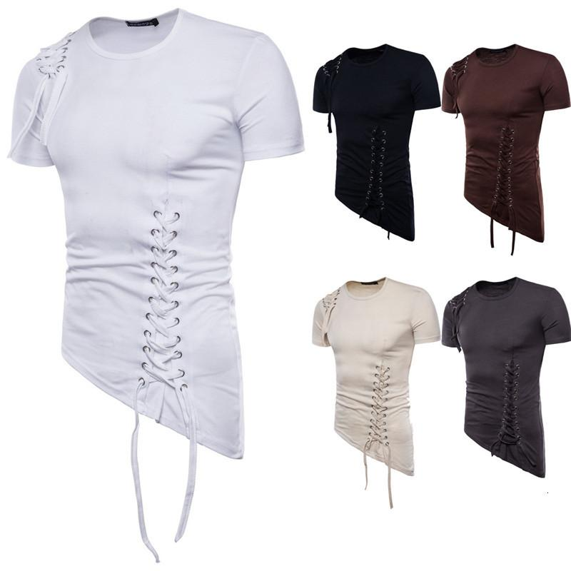 Casual Mens Summer Solid Color O Neck Lace Up Asymmetrical Tees Tops New Mens Clothing Tshirt Short Sleeve