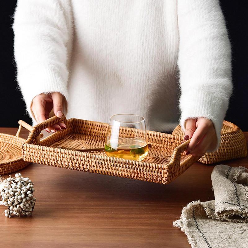 Rattan gewebter Speicher Obstkorb Veranstalter mit Griff Süßigkeiten Snack Platte Besteck Tablett Frühstück Bett Bar Dinner Rechteckige Körbe