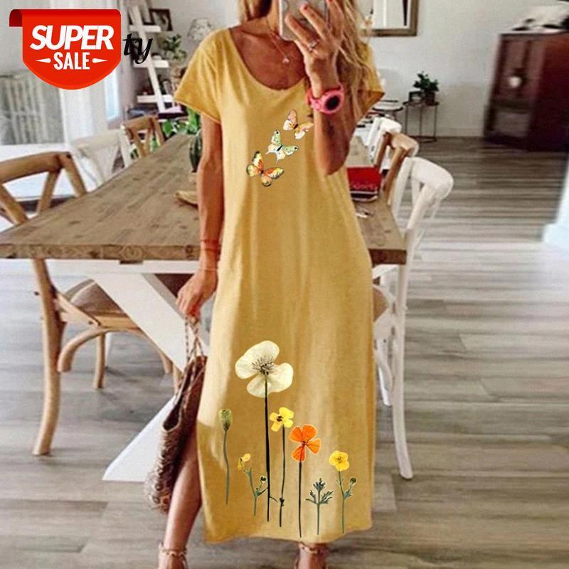 Mulheres elegante manga curta Africano Impressão étnica Split vestido verão vintage o pescoço festa senhora solta maxi vestido # vk9f