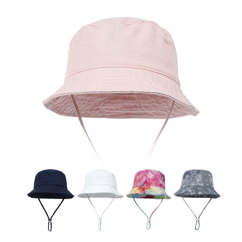 Baby Sun Hat Hat Summer Beach Tie-Dye Sun-Protection Girl Girl Garçon Chapeaux Toddler Enfants Chilrdren Bucket Casquette avec Sangle min ajustable par mer LLA656