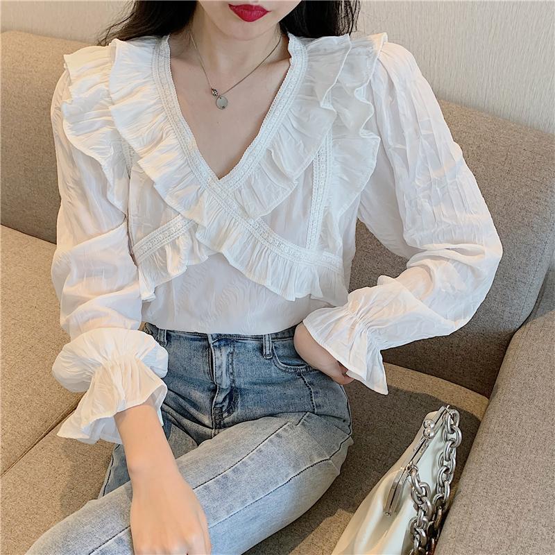 Rüschen V-Ausschnitt Weiße Bluse Frauen Langarm Baumwoll Plissee Hemden Tops Lose Vintage Floral Harajuku Kawaii Z061 Frauen Blusen