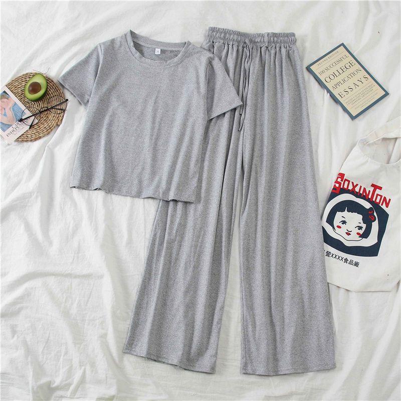 2 pièces Set Vêtements Femmes Ensembles de costumes à manches courtes coréen printemps / été petit pantalon de jambe large Sports loisirs deux pièces 210525