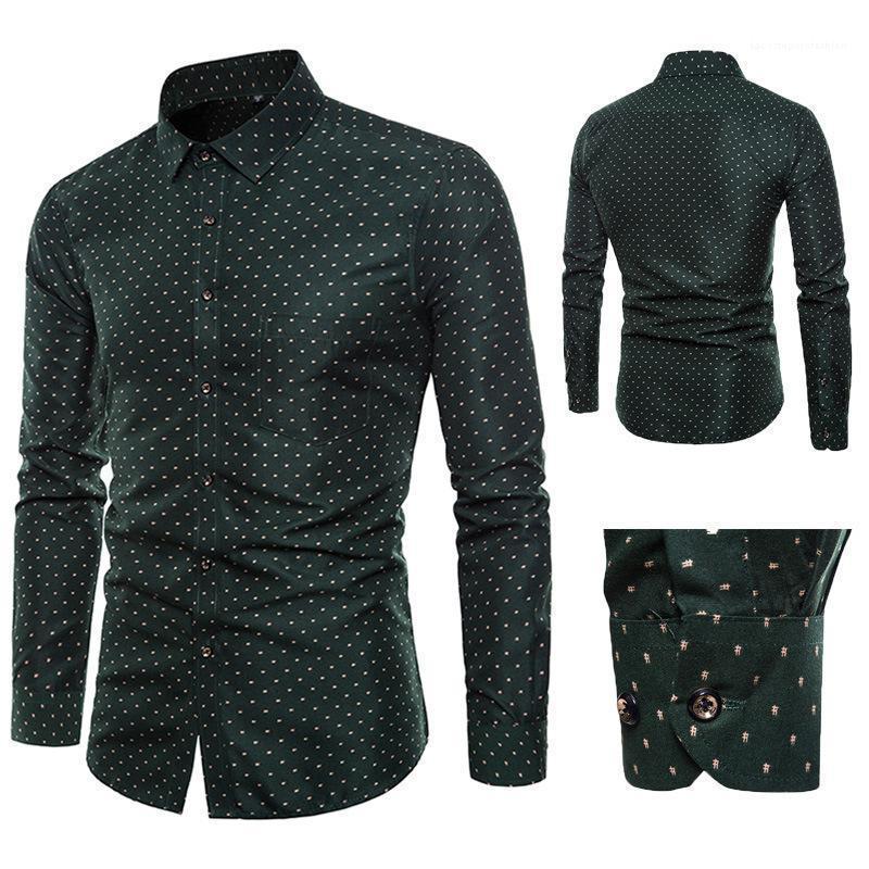 Herrenhemden drucken Slim Fashion Langhülse Frühling Revers Neck Casual Shirt Homme Designer Bekleidung Herren Floral