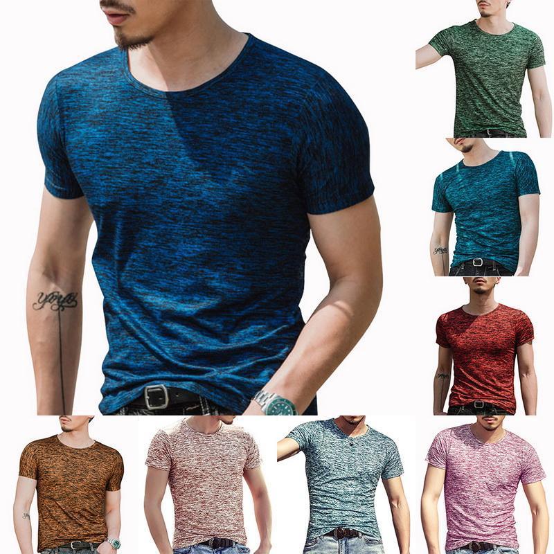 여름 고품질 남성 T 셔츠 캐주얼 짧은 소매 O 넥 코튼 티셔츠 브랜드 티 3XL 남자의 티셔츠