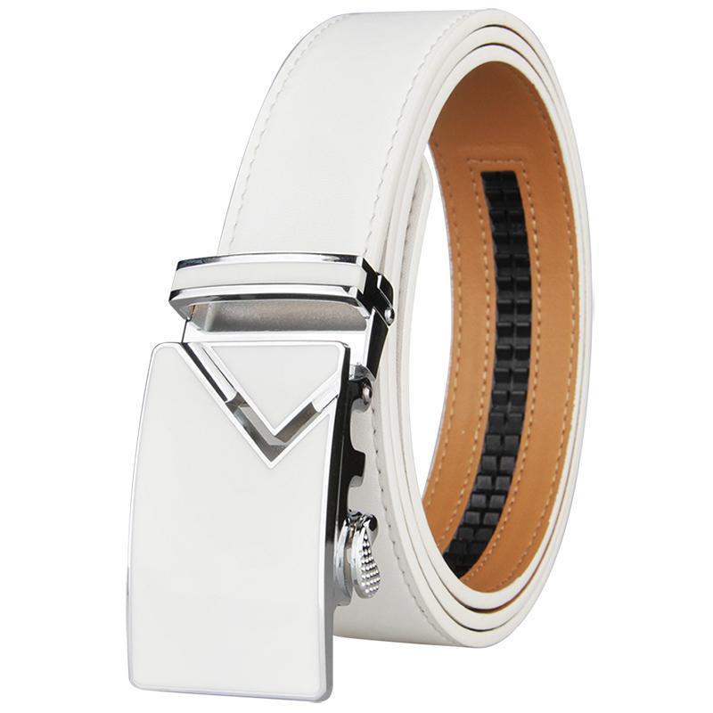 Cinturones de moda Blanco Hombres Blancas Hebilla de aleación automática Cinturón Masculino Golf Golf Golf de piel de vacuno más grande 130 cm