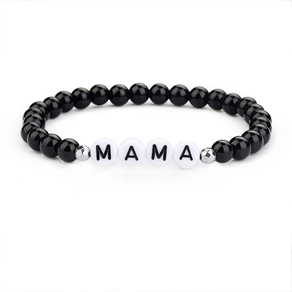 26 Letter Name Bracelet Stretch DIY Black Glass Bead Boho Friendship Bracelets For Girls Women Summer Beach Jewelry