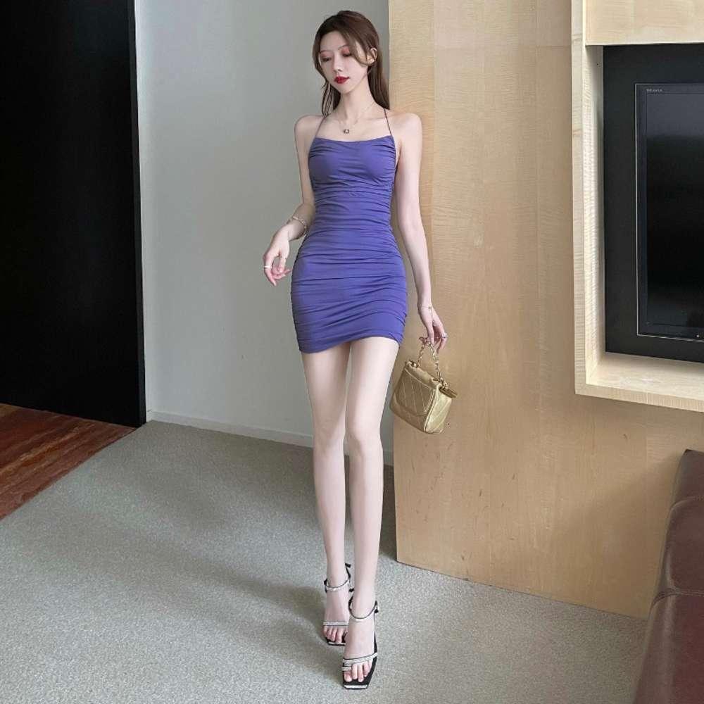 Платья Feijia Styly Style Sexy Night Show Большая открытая спина сплошная сумка бедро короткий юбка тонкий плечевой ремешок подвесшее платье