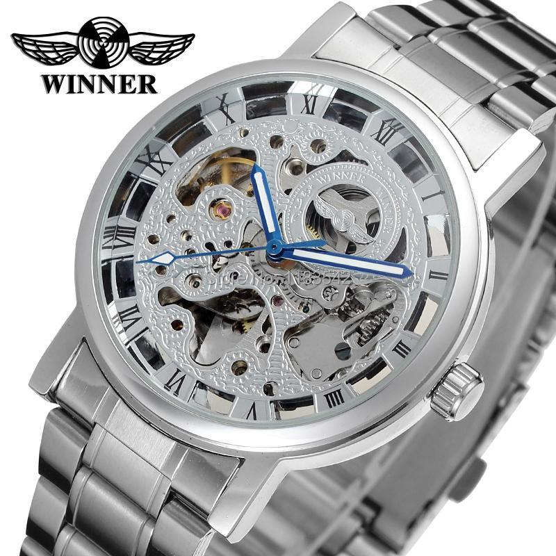 Kazanan erkek İzle Paslanmaz Çelik Bilezik Gümüş Renk Iskelet Erkekler için Otomatik Movt Kol Saati WRG8028M4S3 Saatı