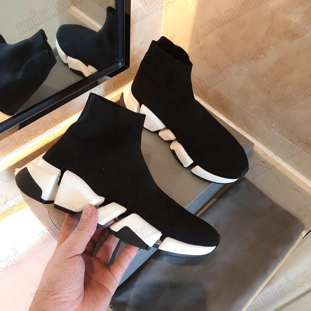 Stretch-Strickgeschwindigkeit 2.0 Socke-Schuhe High-Top-Knöchelstiefel Luxurys Designer-Trainer Socken-Stil-Logo-Print-flache Slip-On-Turnschuhe