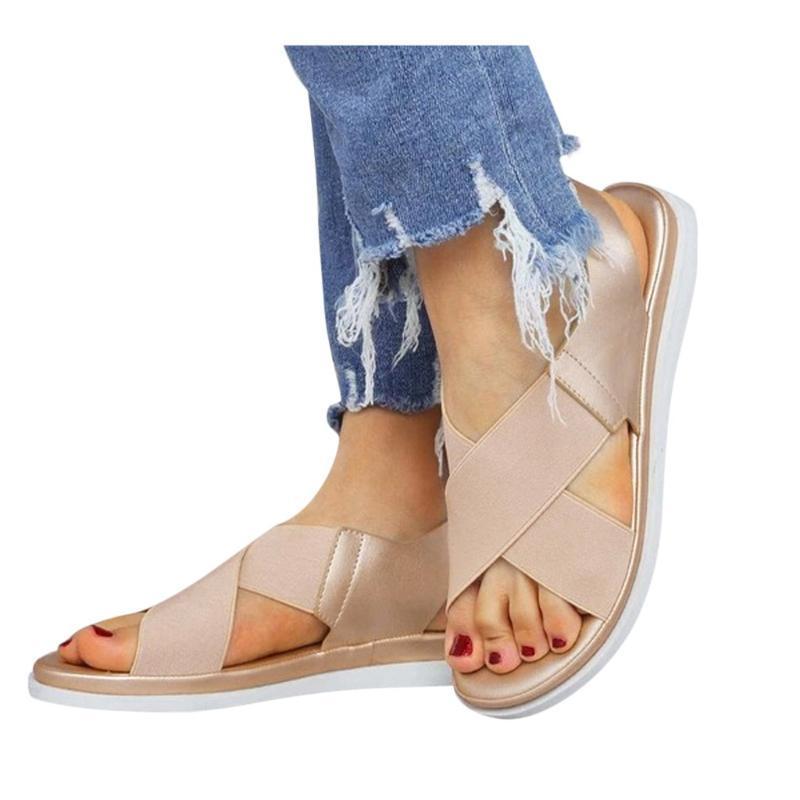 Sandalen Sommer Comfy Slip On Damen Elastische Textil Splicing Casual Beach Schuhe für Frau Klassiker Rutschfeste Leichte