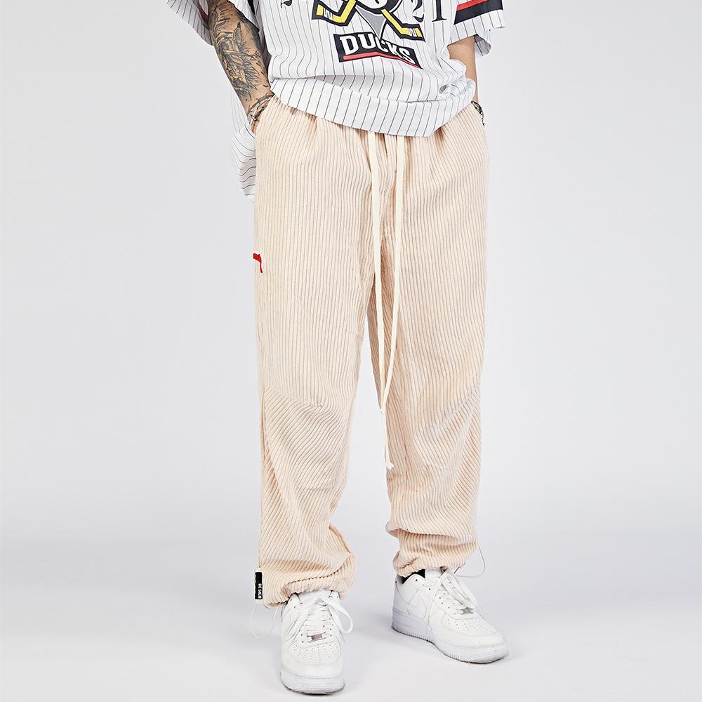 Pantalones casuales de corduroy sólido Moda Moda Marca con cordones Leggings Harajuku Street Tendent