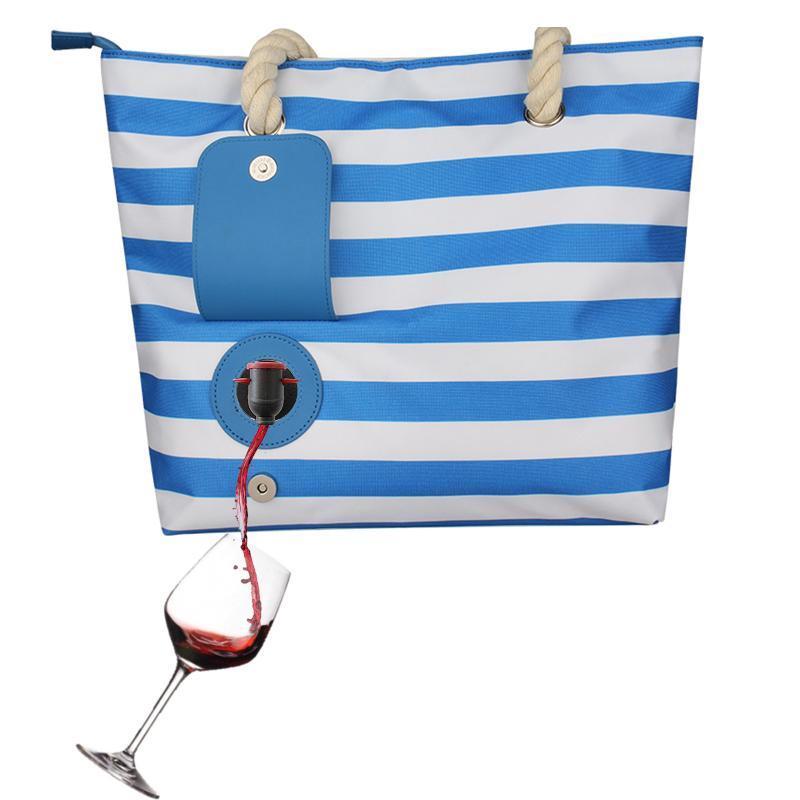 Moda casual listrado bolsa de vinho vermelho Beach Tote com revestimento de compartimentos isolados e bolsos laterais dentro, sacos de armazenamento de grande capacidade