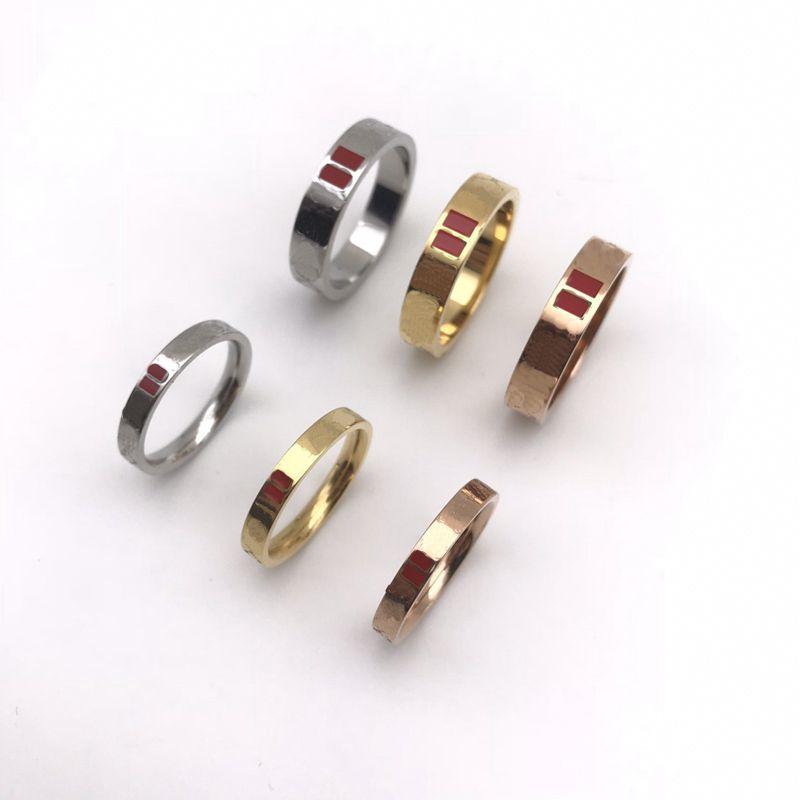 Fashion Ring Designer Lettre d'or Lot Love Anneaux Bague pour Lady Femmes Party Fête Amoureux de mariage Bijoux de fiançailles cadeaux avec boîte-3-5 mm