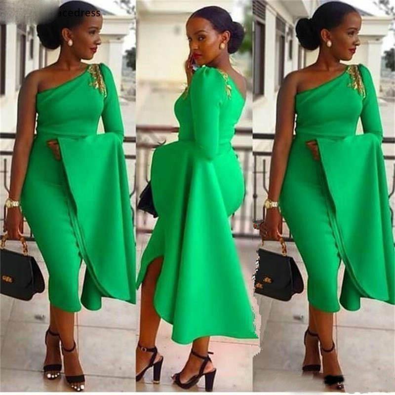African Girls Sheath Evening Dresses Green One Shoulder Tea Length Prom Party Gowns Women Wear Vestidos de fiesta Plus Size
