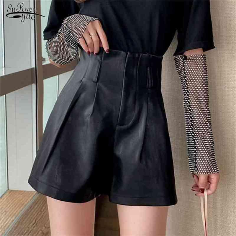 High Waist PU Shorts Autumn Winter Sexy Leather Solid Slim Wide Leg Trousers Women Short Black Fashion 10906 210415