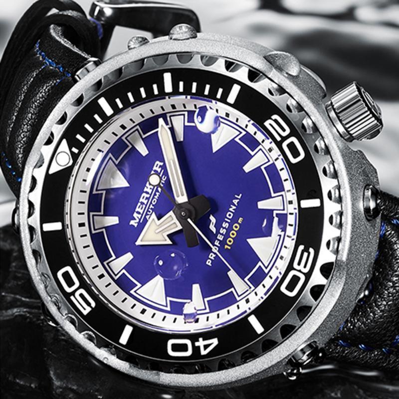 Saatı Merkur Mekanik Kol Saati Erkek Spor 1000 m Dalgıç İzle Erkek Otomatik Paslanmaz Çelik Safir Kristal Yüzmek Saatler 2021
