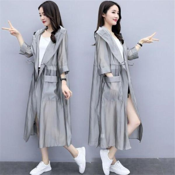 2021 estate nuova giacca da donna versione coreana allentata a mezza lunghezza solare solare maniche lunghe sopra il ginocchio sottile giacche a vento giacche cappotti