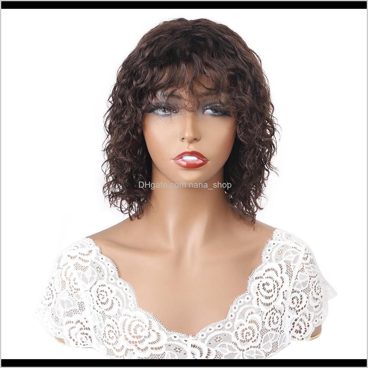 IsHow 2 # Humano profundo brasileiro com franja Hine tornou a onda encaracolada peruana nenhuma lace perucas cabelo indiano malaio awu9e 79fpd