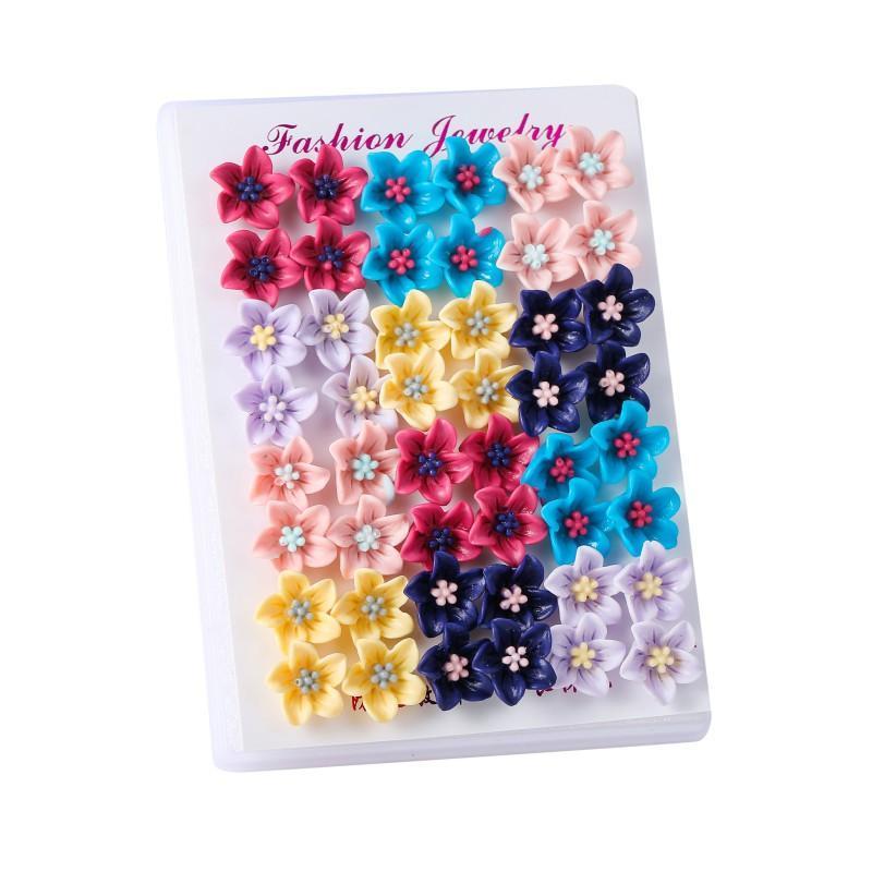 스터드 24 쌍 / 세트 패션 여성을위한 귀여운 여러 가지 빛깔의 꽃 귀걸이 소녀 키즈 쥬얼리 빈티지 수지 귀걸이 세트 Brincos 선물