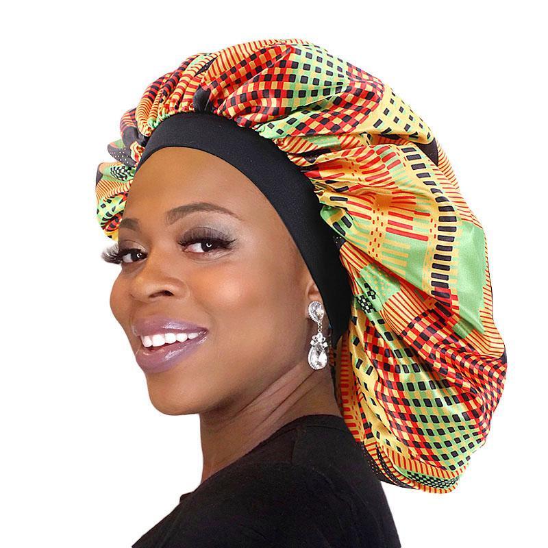 Африканский узор женский капот сатин, крышка для сна эластичная полоса головы обернута дополнительные большие дамы ночной тюрбан химически шляпа для волос аксессуары для волос