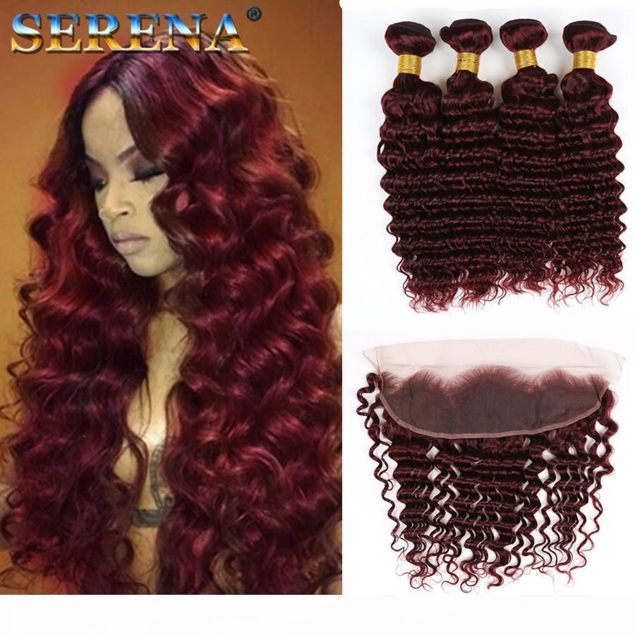 99J 깊은 웨이브 머리카락이있는 깊은 웨이브 머리카락이있는 브라질 처녀 머리 깊은 파도 곱슬 99J 와인 레드 헤어 4 번들 13x4 정면 부르고뉴 컬러