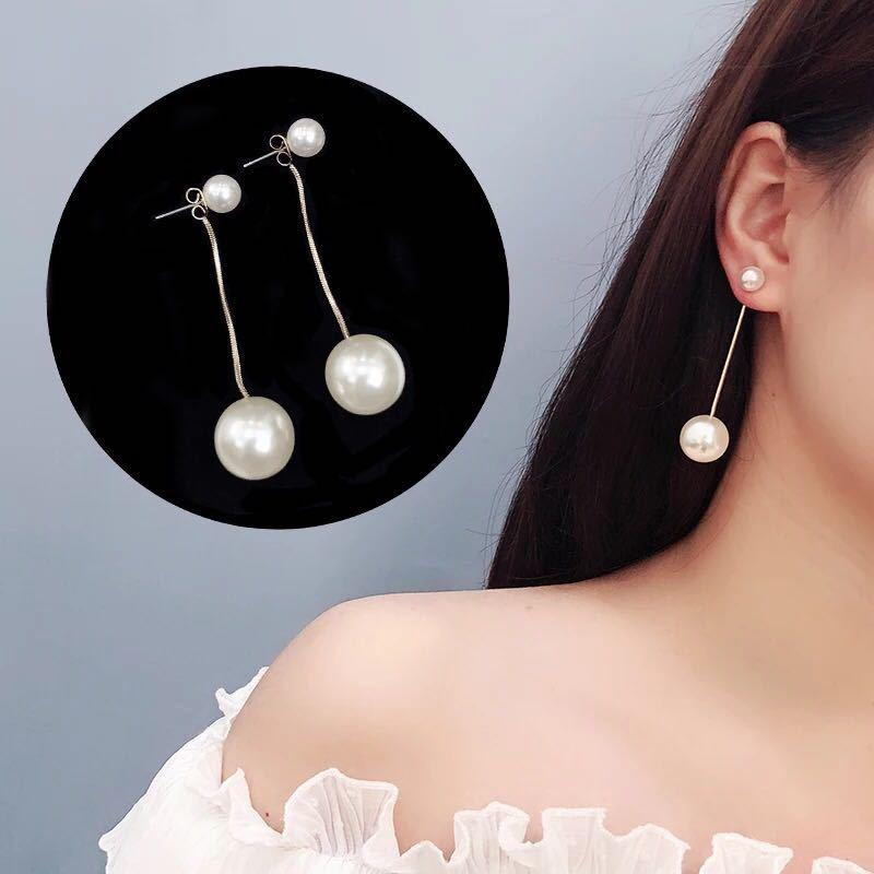 Aesthetic and elegant earrings South Korea super fairy temperament fashion size pearl personality contracted long eardrop earnail female