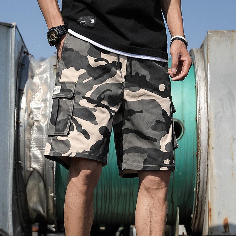 Summer Camouflage d'extérieur Cargo Cordon Coton Coton Casual Half Pantalon Mid-Taille Cordon de cordon Lâche Banque Logement 7XL