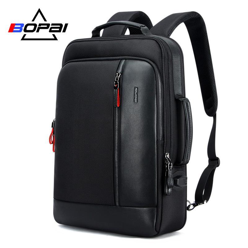 BoPai Men Black Кожаный рюкзак USB заряда Bagpack Школьные сумки Скрытые карманные Анти-кражи Мужской ноутбук рюкзака SAC DOS 210309