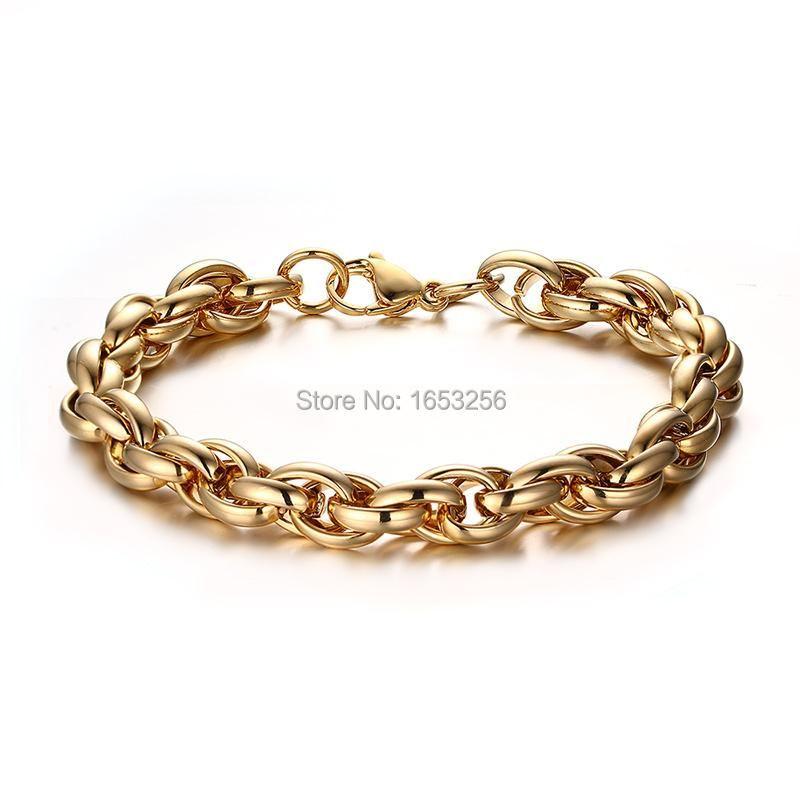 Altın Stainelss Çelik Büyük Halat Bağlantı Zinciri Bilezik Takı Erkek Moda Hediyeleri 9mm 8.66 '' Link,