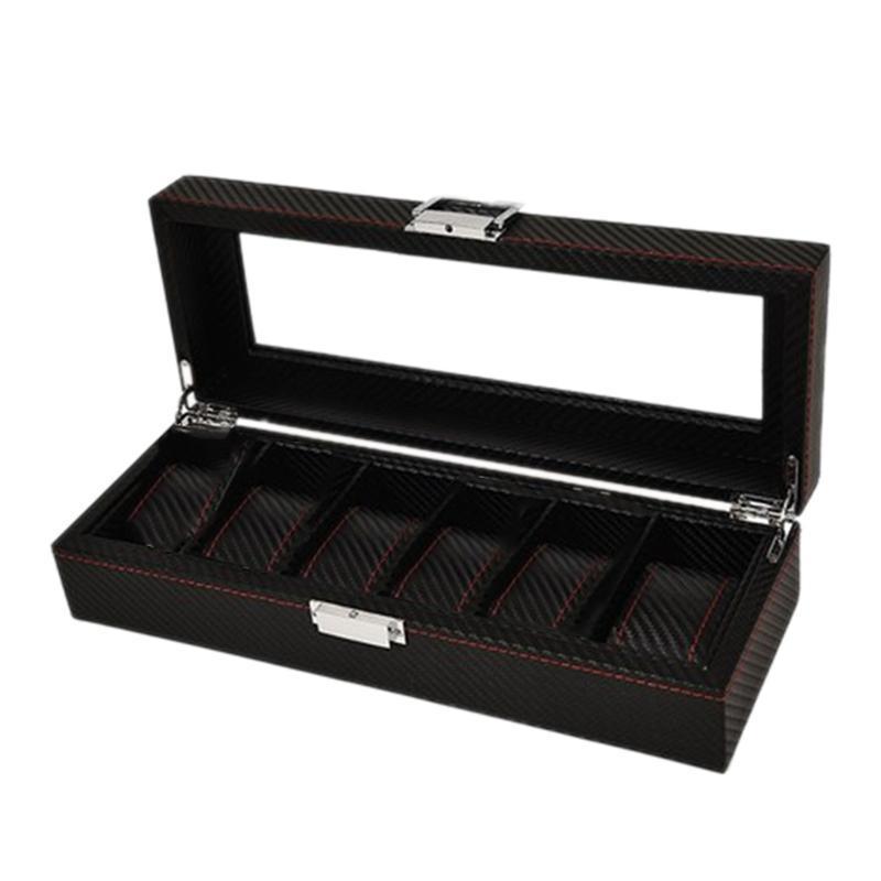 Watch Boxes & Cases 6-Digit Carbon Fiber Box Bracelet Storage Jewelry Display Rack