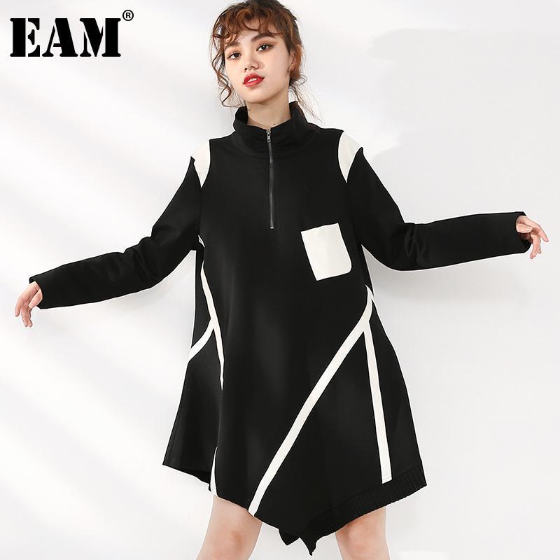 [EAM] Loose ajustement Sweat-shirt Longue Sweat-shirt Stand Collier Sleeve Femmes Grande Taille Mode Marée Spring Automne 2021 JC68101 Sweats à capuche pour femmes