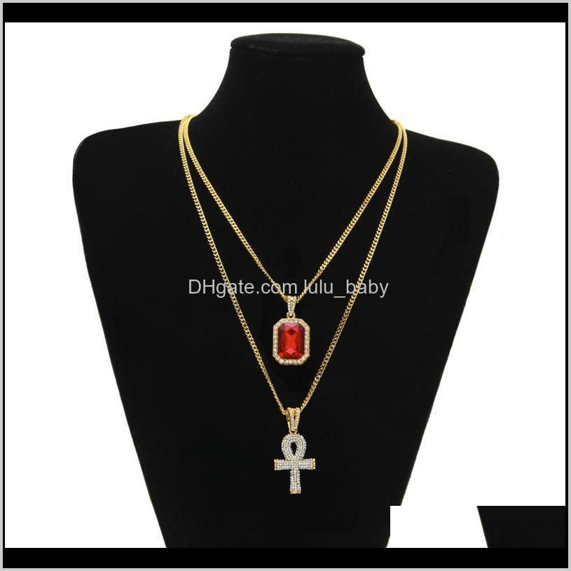 Men S Egyptian Ankh Key Of Life Necklace Set Bling Iced Out Cross Mini Gemstone Gold Silver Chain For Women Hip Hop Jewelry Ibrgq Neck Ewxvt