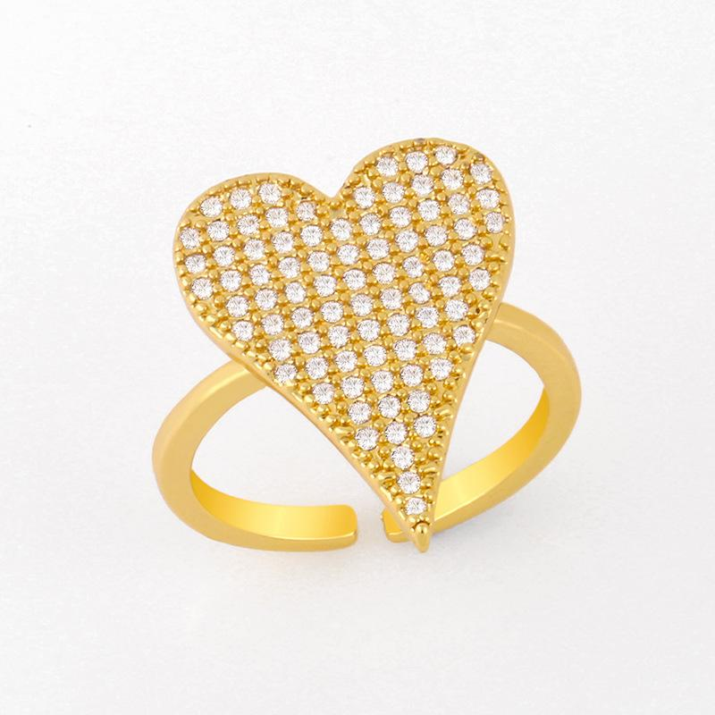 디자이너 링 새로운 다이아몬드 성격 사랑 복숭아 심장 열기 여성 RIJ41