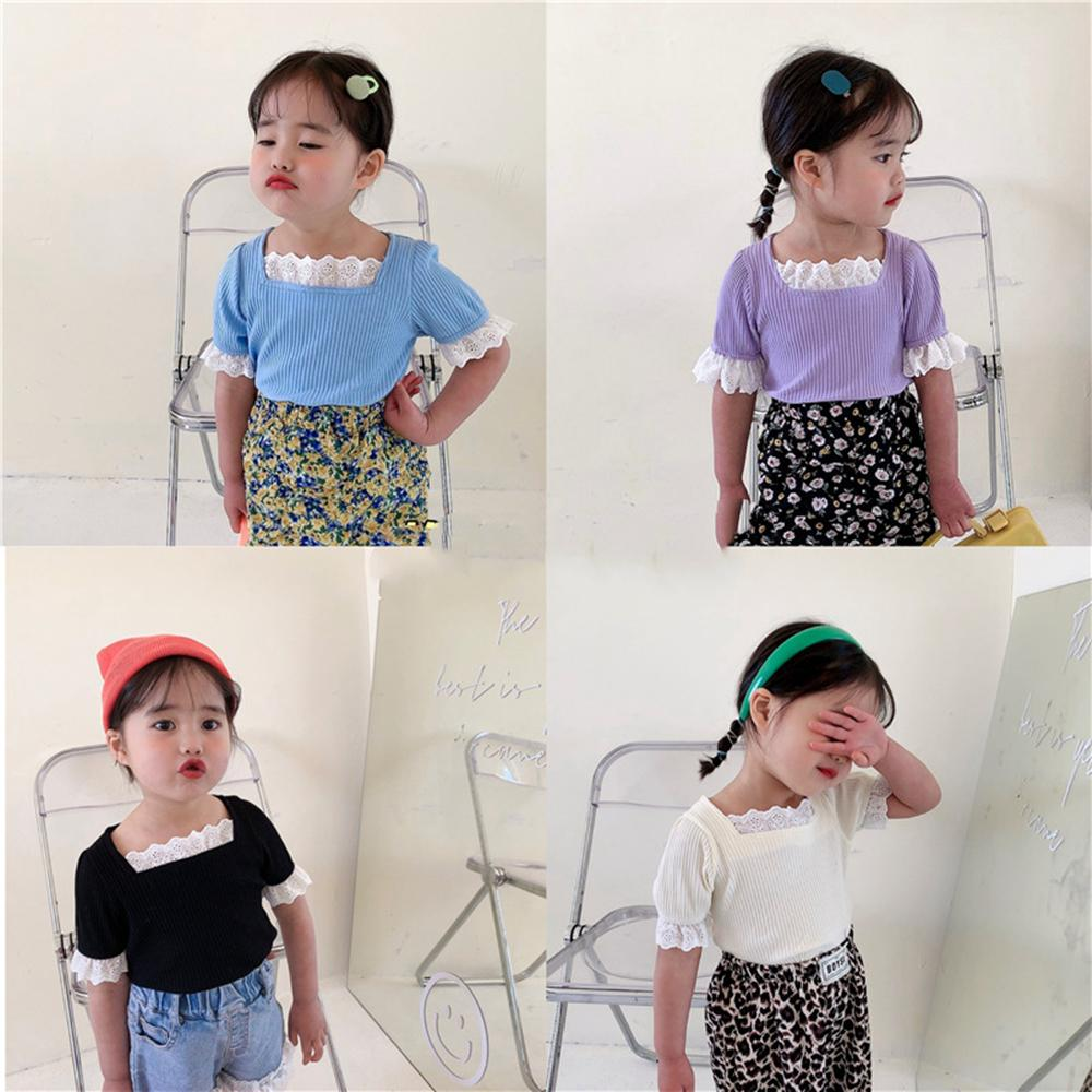 أزياء ins الكورية استراليا الأميرة الفتيات الصغير القمصان الصيف قصيرة الرباط مربع طوق كم الأطفال قمم