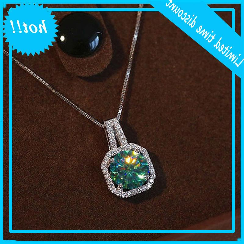 Handmade 2ct Green Moissanite Hanger 925 Sterling Silver Charm Bruiloft Hangers Chain for Women Party Choker Jewelry Poison
