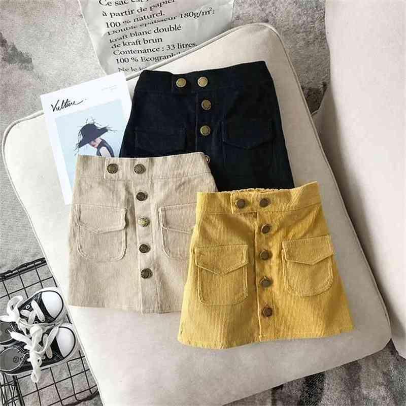 Falda de niñas Ropa de niños de moda linda Niña de otoño Bolsillo dulce bolsillo para bolso de bebé Hip corto 210625