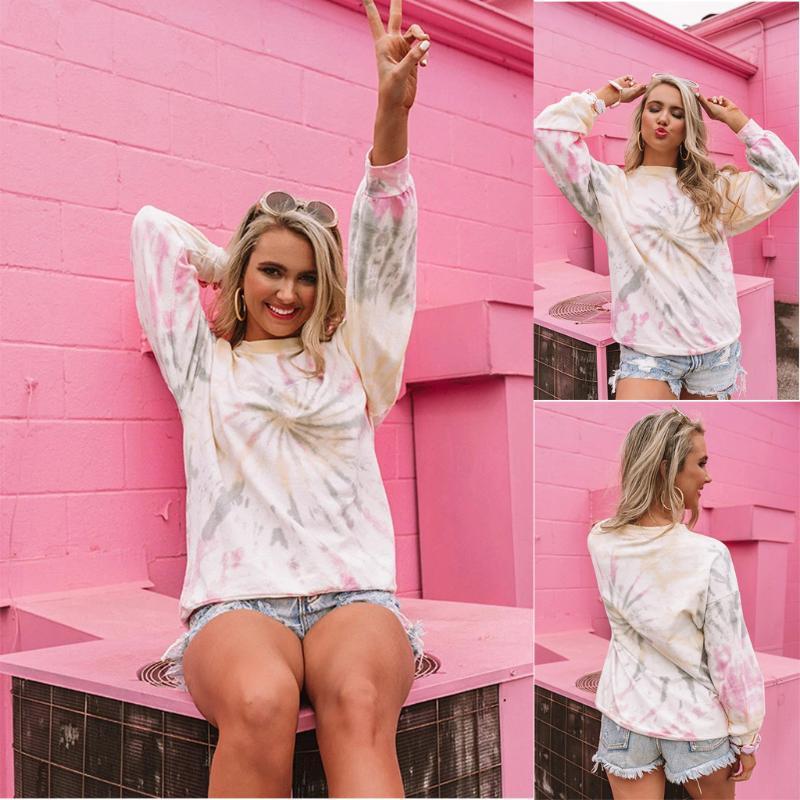 Women's Fashion Tie-dye Long Sleeve Sweatshirt Pullover Tops Femal Girl Casual Loose Long-Sleeve Blouse Top Hoodies & Sweatshirts