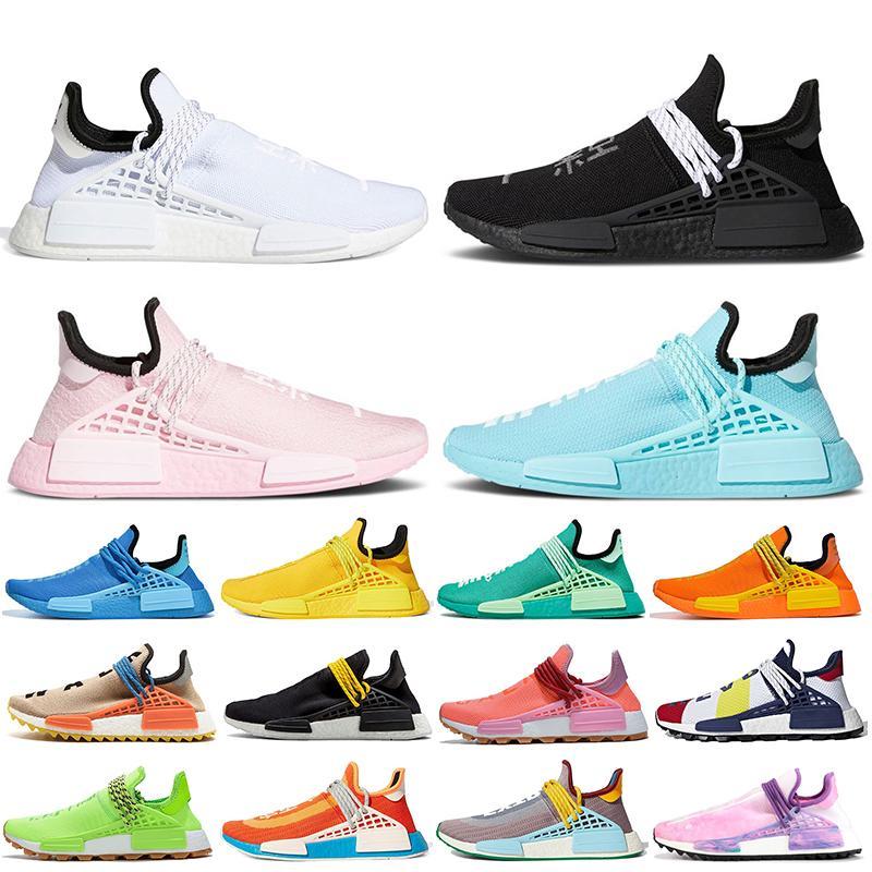 Pharrell Williams Adidas NMD Human Race 2021 أحذية الجري للرجال أحذية رياضية للنساء مقاس كبير 47 أبيض أسود وردي أخضر حذاء رياضي يذاكر كثيرا من Hu Trail
